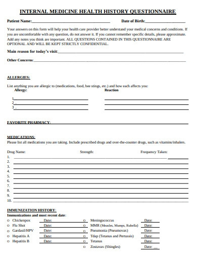 internal medical health history questionnaire