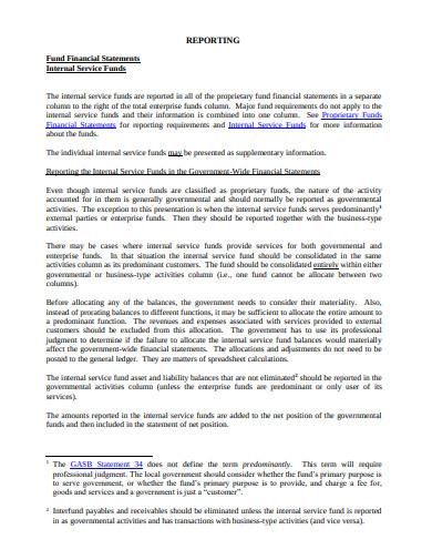 internal service fund financial statement report