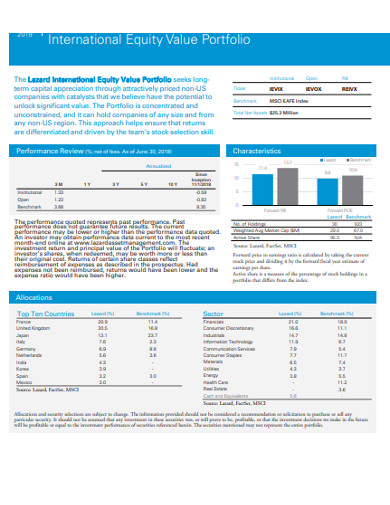 international equity value portfolio