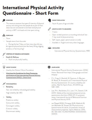international physical activity questionnaire short form