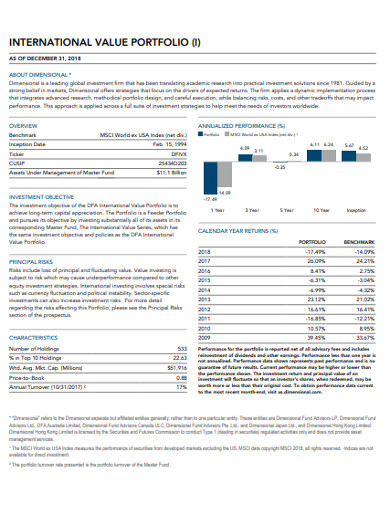international value portfolio example