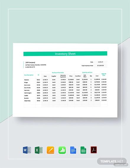 inventory sheet template