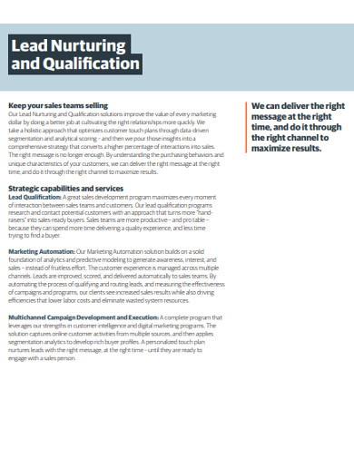 lead nurturing and qualification example