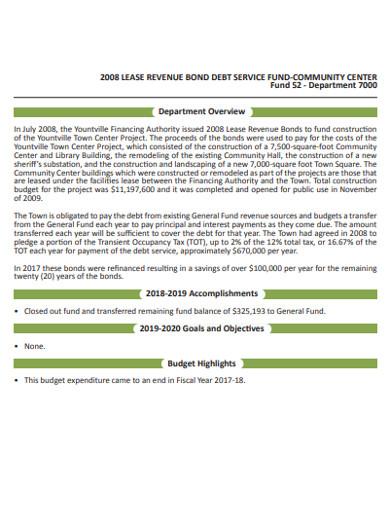 lease revenue bond debtservice fund example