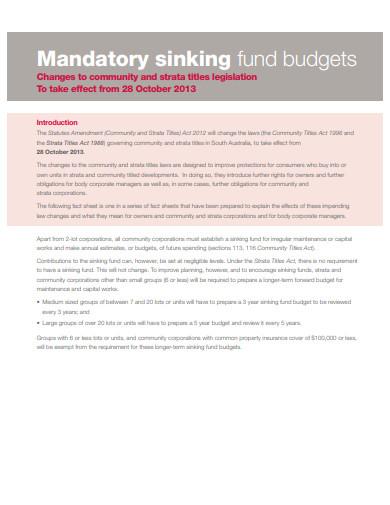 mandatory sinking fund budgets example