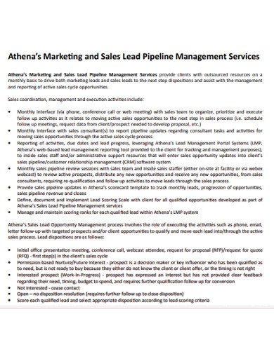 markeng and sales lead pipeline management services