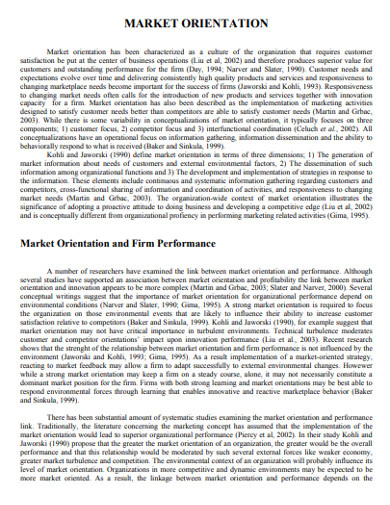 market orientation and firm performance