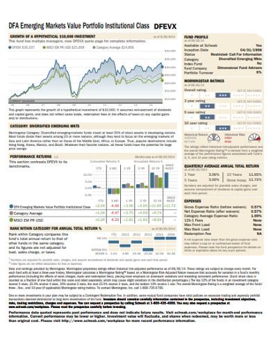 market value portfolio example