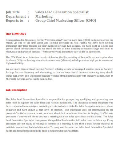 marketing sales lead generation specialist job description