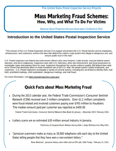 mass marketing fraud scheme example