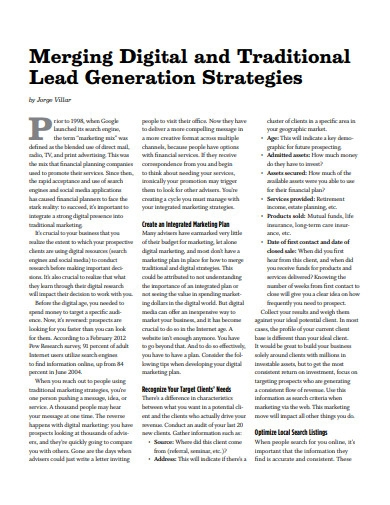 merging digital and traditional lead generation strategy