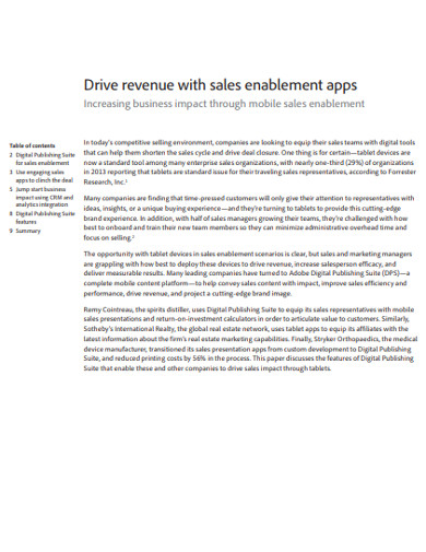 mobile sales force enablement example