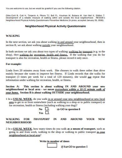 neighborhood physical activity questionnaire