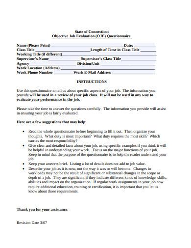 objective job evaluation questionnaire