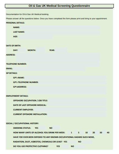 oil and gas medical screening questionnaire form
