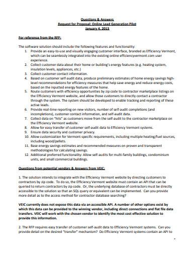 online lead generation pilot questionnaire