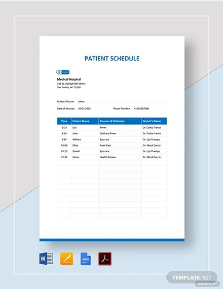 patient schedule template