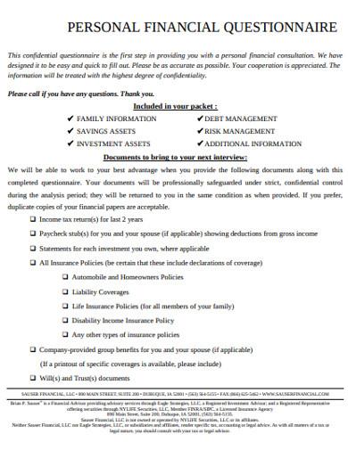 personal financial questionnaire