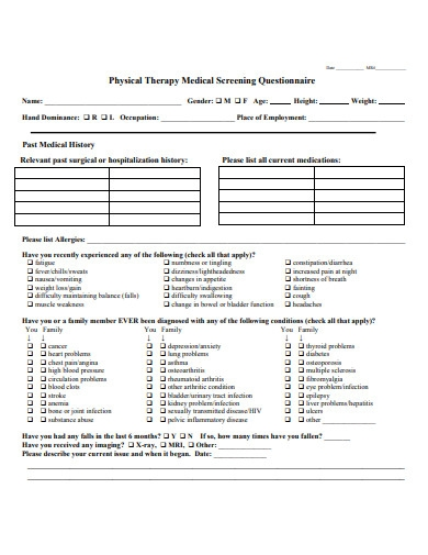 physical therapy medical screening questionnaire
