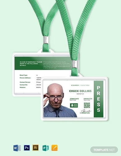 portrait horizontal press id card template