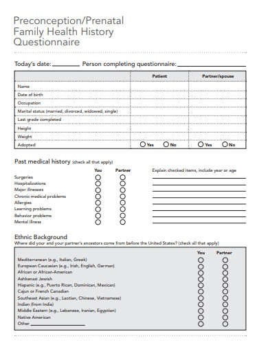 prenatal family health history questionnaire