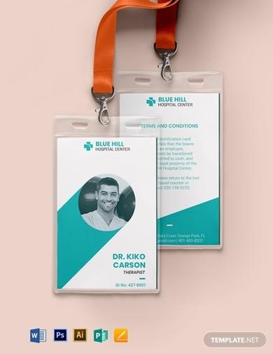 printable medical id card template
