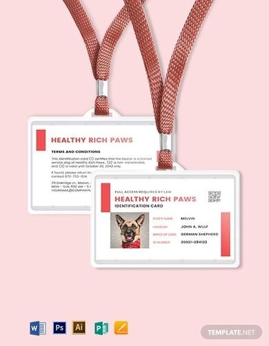 printable service dog animal id card template