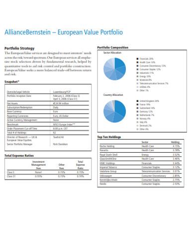 printable value portfolio example