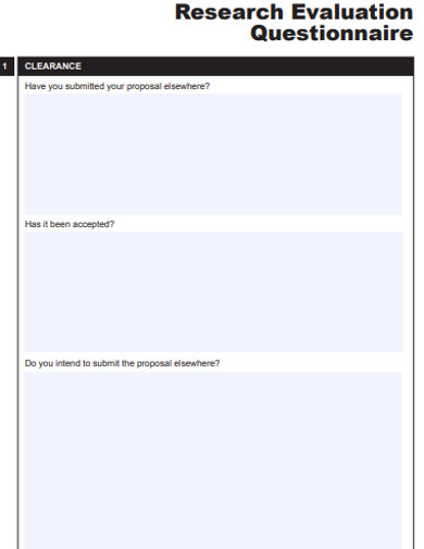 project research evaluation questionnaire example