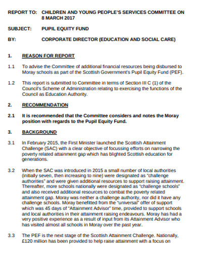 pupil equity corporate fund example
