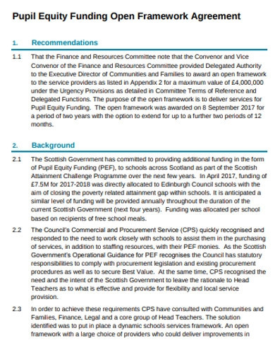 pupil equity funding agreement examples