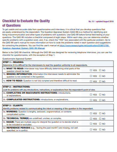 quality evaluation questionnaire checklist example
