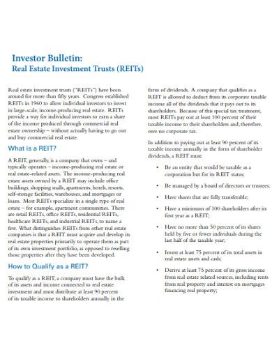 real estate investors investment trust example