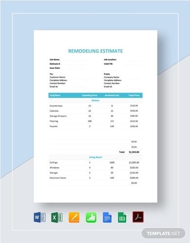 remodelling estimate template