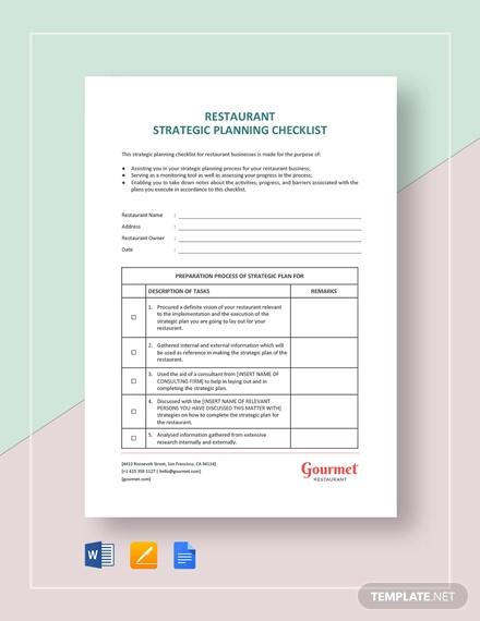 restaurant strategic planning checklist template