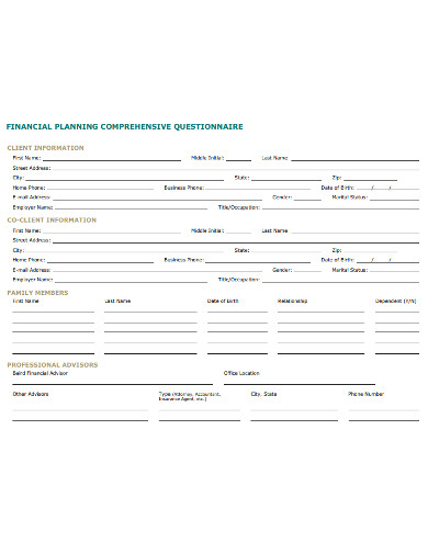 retirement financial palnning questionnaire example