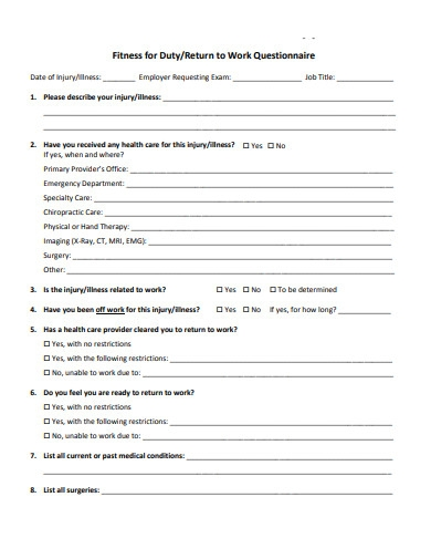 return to work questionnaire form