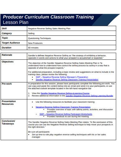 reverse selling sales meeting plan
