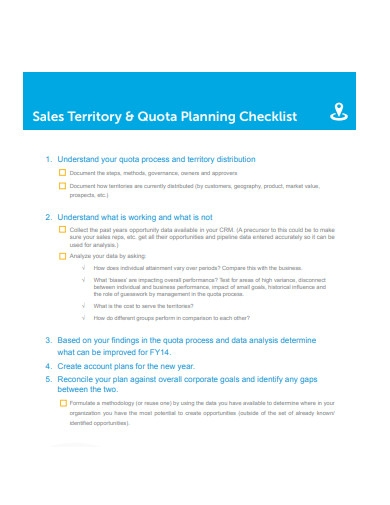 sales territory and quota planning checklist