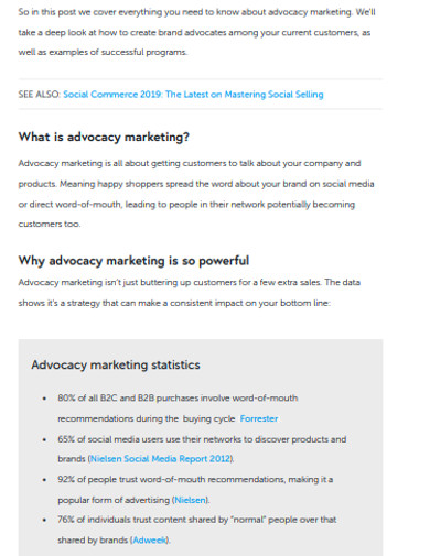 sample advocacy marketing example