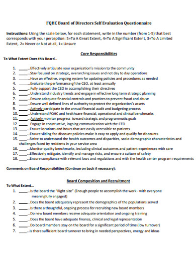 sample board of directors self evaluation questionnaire