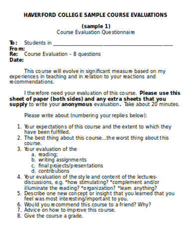 sample college course evaluation questionnaires