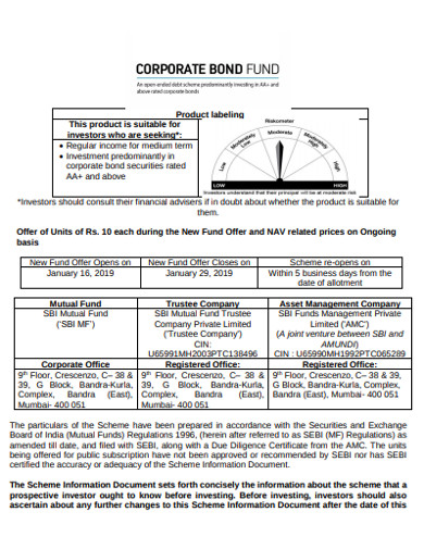 sample corporate bond example