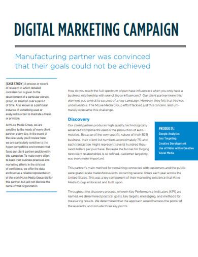 sample digital marketing campingn example