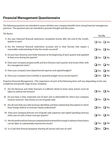 sample financial management questionnaire