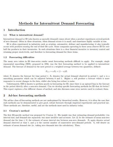 sample intermittent demand forecasting