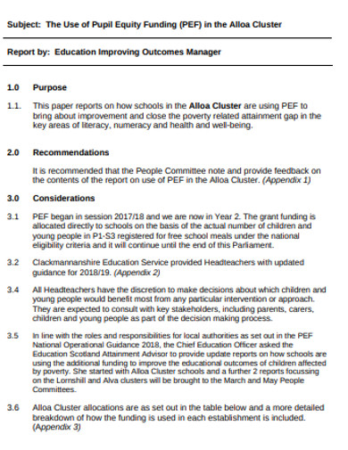 sample pupil equity funding example