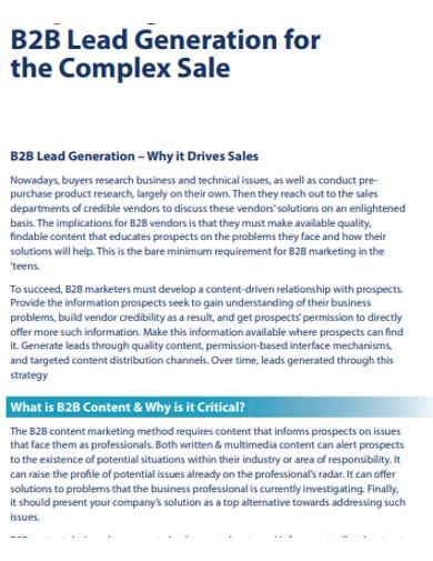sample sales b2b lead generation example