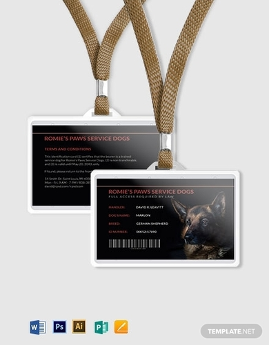 sample service dog animal id card template