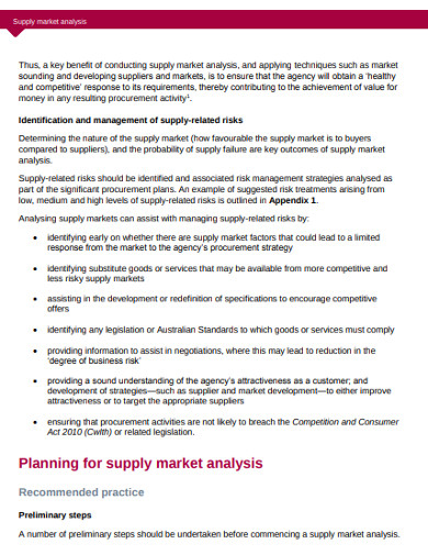 sample supply market analysis example
